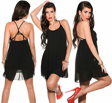 Minikleid Abendkleid Chiffon Kleid Top Babydoll Tunika Party Schwarz*