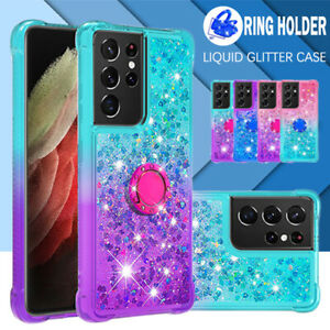 For Samsung S21 S20 FE Ultra S10 S9 S8 Plus Case Clear Liquid Glitter Ring Cover
