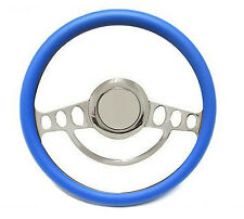 "Chrome & Blue Steering Wheel 14"" for Ididit, Flaming River Column Hot Rod Street"