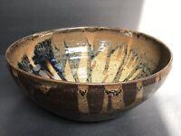 """Large Glazed Pottery Bowl 11.5"""" Signed Steve Scagnelli Southwestern Brown Glaze"""