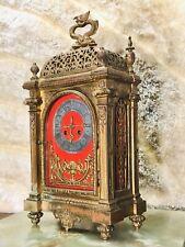 Rare Vintage Antique France Gilt Bronze H & F Paris Strikes Keywound Clock