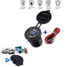 3.1A 12V-24V Blue LED Voltmeter + Wire Fuse Dual USB Charger Socket Waterproof