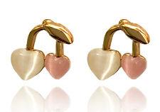 Trendy Sweet Pink Cherry Gold Studs Girl Women Earrings Studs E216