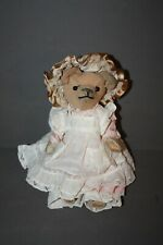 "Antique Vintage Victorian Linen Woven Straw Filled Teddy Bear 10"" Needs Repairs"