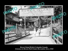 OLD LARGE HISTORIC PHOTO OF BOWEN ISLAND CANADA, VIEW OF THE PARK ENTRANCE c1940
