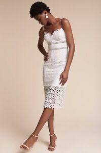 NEW $220 BHLDN Alessa White Lace Dress Size 8 Wedding Rehersal Honeymoon Bridal