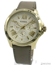 New Fossil Women Cecile Multi-Function Gray Leather Gold Watch 40mm AM4529 $125