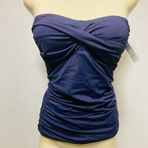 NWT Ann Taylor Loft Beach Womens Tankini Top Size S Dark Blue