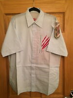 MAHARISHI MENS SKY BLUE S/S SHIRT WITH SSUR SCRATCHES EMBROIDERY!!!