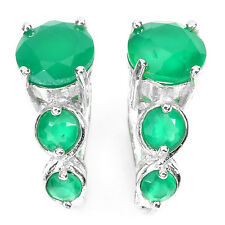 3 STONES STYLE NATURAL CUT RICH GREEN AVENTURINE STERLING 925 SILVER EARRINGS