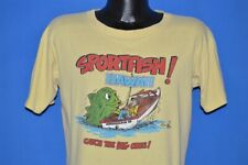 vtg 80s SPORTFISH HAWAII SUNSTROKES POLY TEES CATCH BIG ONE FISHING t-shirt L