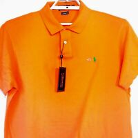 Polo by Ralph Lauren Custom Fit Men's Orange Green Pony Polo Shirt Size XL NWT