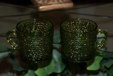 Vintage Anchor Hocking Soreno Avocado Green-Pair of coffee tea punch cups mugs