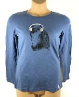 Ariat Biggs Mixer Tee Long Sleeve T-Shirt Horse Blue Women's Medium M