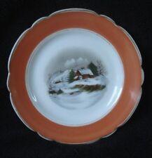 Vintage Plate Winter Scene Scalloped Edge Orange Border Rim Euc