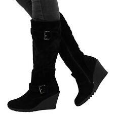Zip Mid Heel (1.5-3 in.) Wedge Patternless Boots for Women