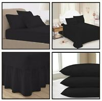 Black Plain Dyed Fitted,Flat ,Valance Bed Sheet Pillow Case All Sizes