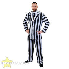 Mens Black White Suit Beetlejuice Fancy Dress Costume Outfit Halloween XX Large