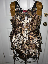 "NWT$58.00""CARINA"" Animal Print Stretchable Ruffles Gold Straps Blouse size M."