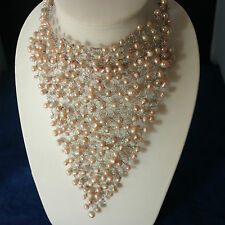 "Superb Bronze Freshwater Pearls And Crystal Choker Necklace 8"" x 7"" Inches .Wide"
