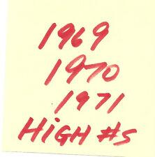 you pick 1969 / 1970 / 1971  Topps Baseball high #s set -$2.99 each pick