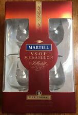 MARTELL VSOP MEDALLION Champagne Cognac Snifter (4) Glasses NEW, Box, Ltd Edn.