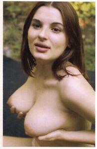 Postcard Risqué Retro Classic Pin-ups Amateur Topless Brunette Model Holds On 💄