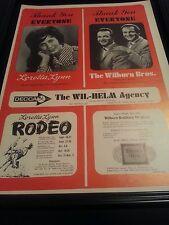 Loretta Lynn Very Rare Rodeo Original Promo Poster Ad Framed!