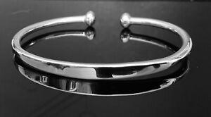 Solid 925 Sterling Silver Open Mens Torque Identity Bangle Bracelet UK RRP £70+
