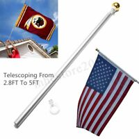 Aluminum 5FT Silver Brushed Telescopic Flag Pole Flagpole Kit For Valley  !