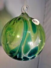 Glass Eye Studio Hand Blown Classic Aqua Wave Round Ornament 116L