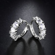 HUCHE Flower Laurel Diamond Crystal Silver Gold Filled Ring Hoop Women Earrings