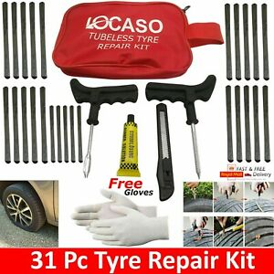 31Pcs Tire Puncture Repair Kit Tool Emergency Car, Van, Motorcycle for Tubeless.