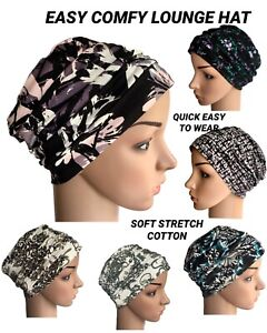 HEADWEAR FOR HAIR LOSS,  EASY COTTON LOUNGE DAY HAT, CHEMO, ALOPECIA, CANCER