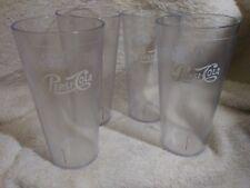 "Pepsi Cola Restaurant Clear Plastic Tumblers Cups 7"" Carlisle Made in USA Lot 4"