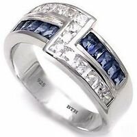 925 Sterling Silver Mens Created Blue Sapphire Unique Wedding Engagement Ring
