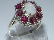 Cluster Natural Oval Sterling Silver Fine Gemstone Rings