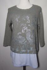 NWT CHICO'S Foiled Floral Print Rebecca Pullover Sweater Sz 1 W/ Shirt Tail Hem
