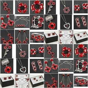 Equilibrium Silver Plated Red Poppy Earrings Necklace Bracelet  Jewellery