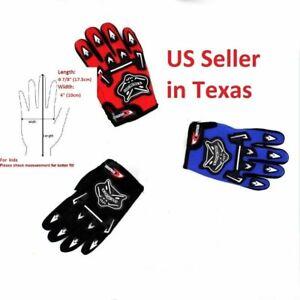 Kids Motocross Cycling Full Finger Gloves Bike ATV Riding Racing blue black red