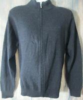 Brooks Brothers 346 Gray 100% Extra Fine Merino Wool Mens sz L Full Zip Sweater