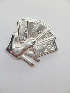 Carte da Gioco, SPILLA da giacca (PINS) in Argento 925 - giocatore - poker -