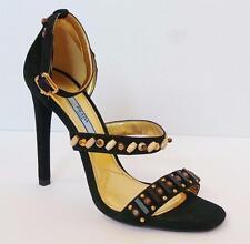 PRADA Beaded Black Suede Ankle Strap Sandal Heel Shoe 38.5 8.5 NIB