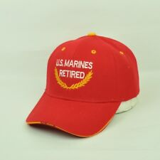 U.S. Marines Retired Bright Red Curved Bill US Military Adjustable Hat Cap