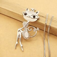 Wholesale Crystal Cat woman chain Mosaic crystal charm necklace XL558