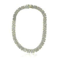 1 Ct TDW Diamond Chevron Tennis Necklace - Gold Tone