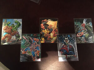 1992 MARVEL MASTERPIECES DYNA-ETCH FOIL BATTLE SPECTRA 5 CARD INSERT CHASE SET!