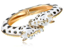 Golden Alloy White Black Spotted Enamel Twin Giraffe Cuff Bangle Bracelet Cuff