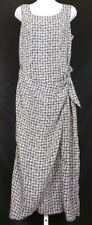 Vintage 90s Dress Black White Print Sleeveless Draped Front Misses 11 Jay Jacobs