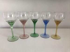Vintage Coloured Stem Wine Goblets - Glasses x 5